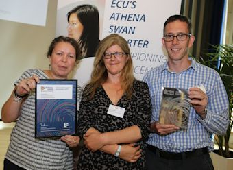 Greg Marsden and other staff with Athena SWAN award