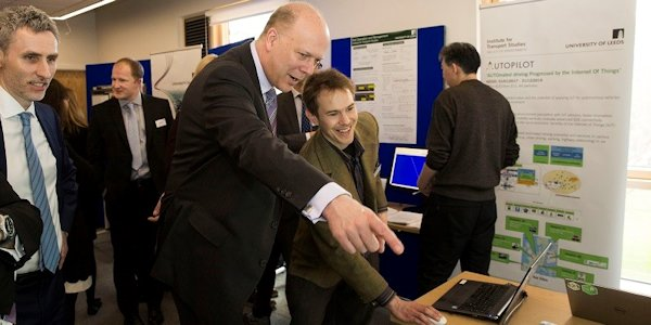Chris Grayling, Secretary of State for Transport and Robin Lovelace at Institute for Transport Studies building launch, March 2017
